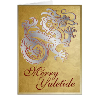 Dragón de plata - tarjeta de felicitación de Yule