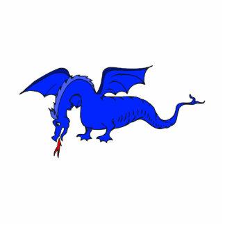 Dragón de respiración del fuego azul que vuela esculturas fotográficas