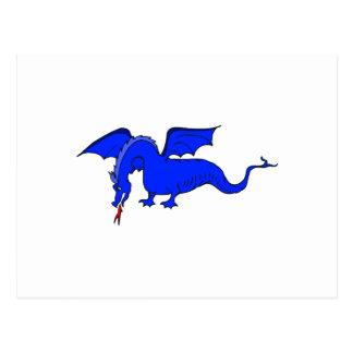 Dragón de respiración del fuego azul que vuela postales
