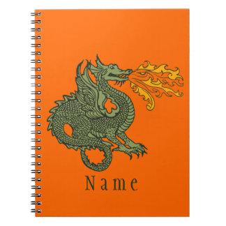 Dragón de respiración del fuego cuadernos