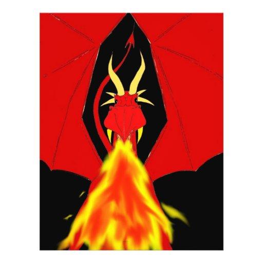 """Dragón de respiración del fuego rojo folleto 8.5"""" x 11"""""""