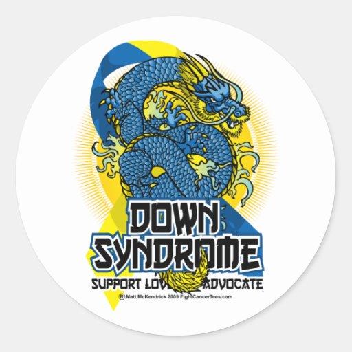 Dragón de Síndrome de Down Pegatina Redonda