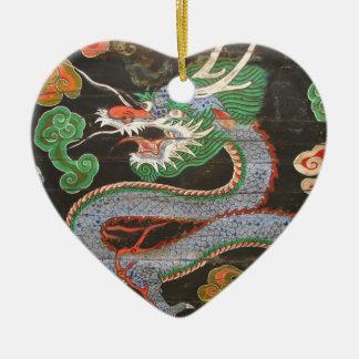 Dragón de sudcoreano Namdaemun Sungnyemun Adorno Navideño De Cerámica En Forma De Corazón