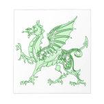 Dragón de verde menta blocs de papel