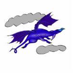 Dragón de vuelo azul lindo esculturas fotográficas
