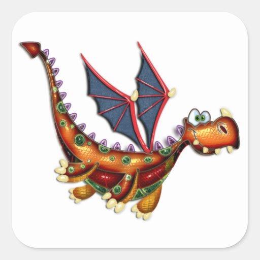 Dragón de vuelo torpe pegatina cuadrada