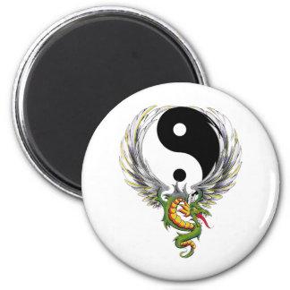 Dragón de Yin Yang Imán Redondo 5 Cm