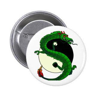 Dragón de Yin Yang Pin Redondo De 2 Pulgadas