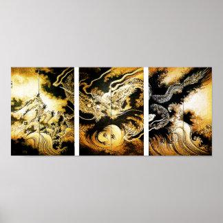 dragón del 歌川広重 en las nubes Utagawa Hiroshige Póster