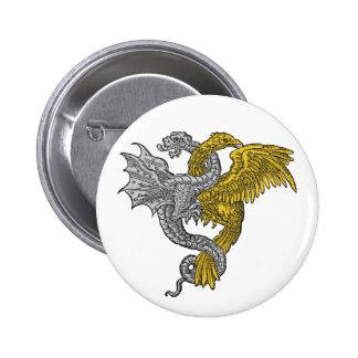 Dragón del águila de oro y de la plata entrelazado pin redondo de 2 pulgadas