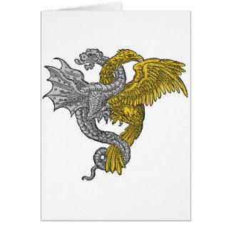 Dragón del águila de oro y de la plata entrelazado tarjeta de felicitación