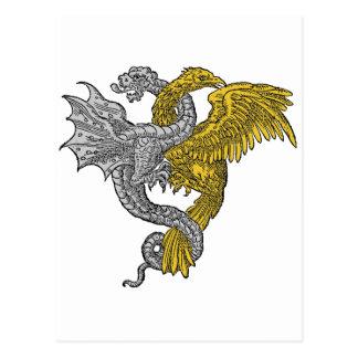 Dragón del águila de oro y de la plata entrelazado postales