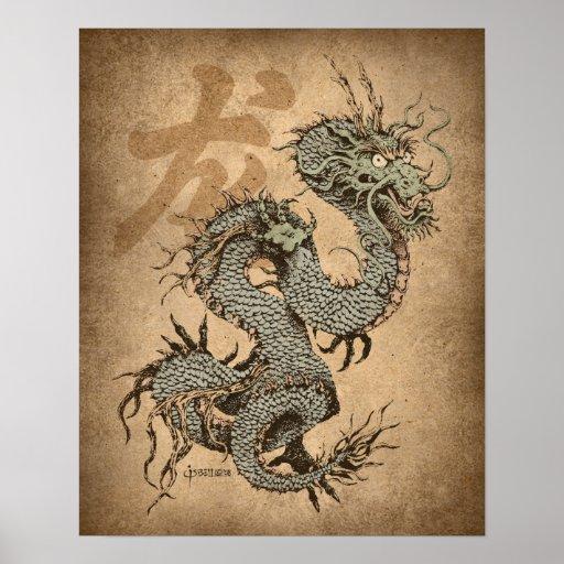 Dragón del alcohol póster