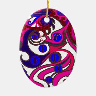 Dragón del alcohol (psicodélico) adorno navideño ovalado de cerámica
