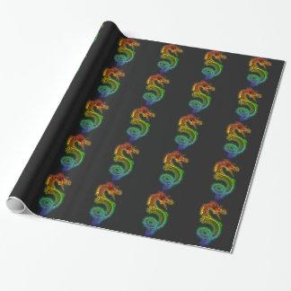 Dragón del arco iris papel de regalo