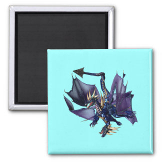dragón del azul 2-Headed Imán Cuadrado