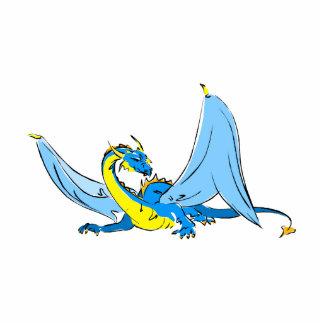 Dragón del azul de la fantasía fotoescultura vertical