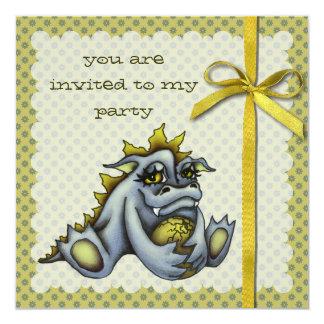 """Dragón del bebé azul invitación 5.25"""" x 5.25"""""""