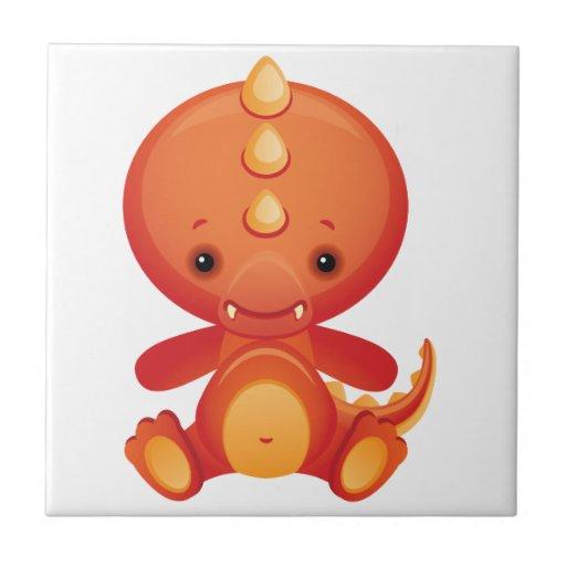 Dragón del bebé azulejo cuadrado pequeño