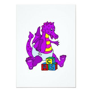 Dragón del bebé con los bloques invitación 12,7 x 17,8 cm