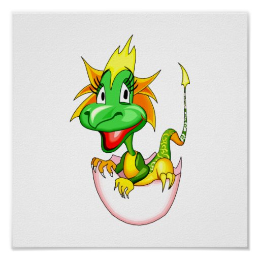 Dragón del bebé en el huevo graphic.png póster