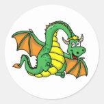 Dragón del bebé etiqueta redonda