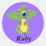 Dragón del bebé etiquetas redondas