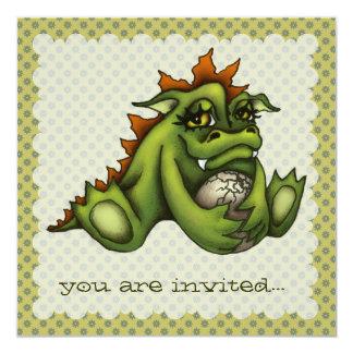 """Dragón del bebé invitación 5.25"""" x 5.25"""""""