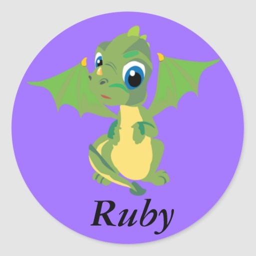 Dragón del bebé pegatina redonda