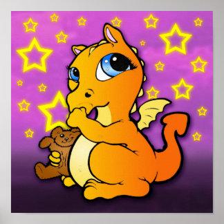 Dragón del bebé que chupa el pulgar (naranja) - póster