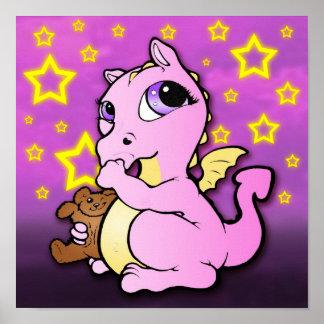 Dragón del bebé que chupa el pulgar (rosa) - posters