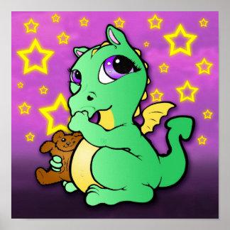 Dragón del bebé que chupa el pulgar verde - impr posters