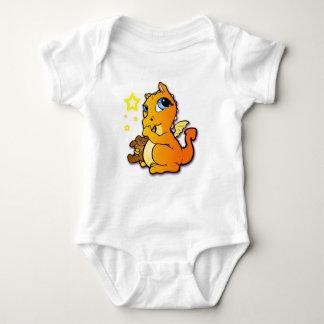 Dragón del bebé que chupa su pulgar - naranja playeras