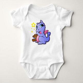 Dragón del bebé que chupa su pulgar - púrpura playera