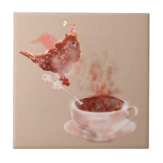 Dragón del café azulejo cuadrado pequeño