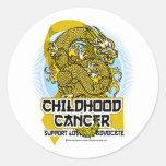 Dragón del cáncer de la niñez etiqueta redonda