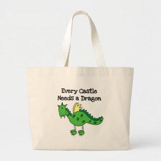 Dragón del castillo bolsa tela grande