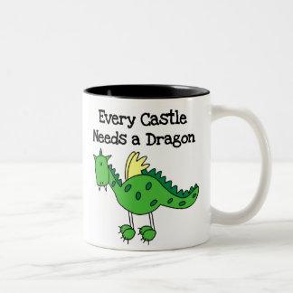 Dragón del castillo tazas de café