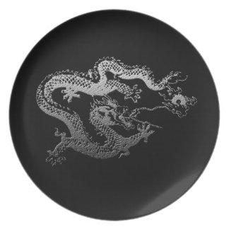 Dragón del chino de la astilla plato