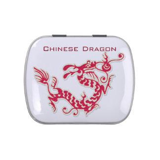 Dragón del chino de la perla latas de dulces