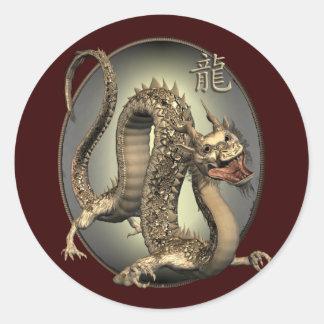 Dragón del chino del vintage pegatina redonda