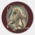 Dragón del chino del vintage pegatinas redondas