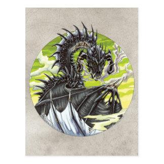 Dragón del círculo - undead negro tarjetas postales