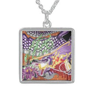 Dragón del collar de la plata esterlina de Lotus