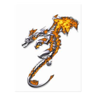 Dragón del cromo con las llamas tarjeta postal