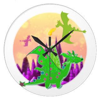 Dragón del dibujo animado del verde del mundo del  reloj