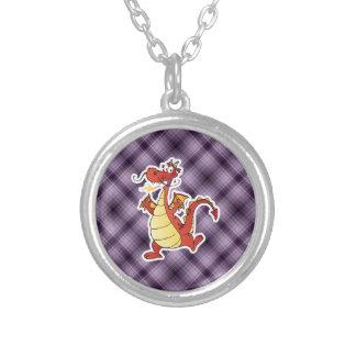 Dragón del dibujo animado Púrpura Collares Personalizados