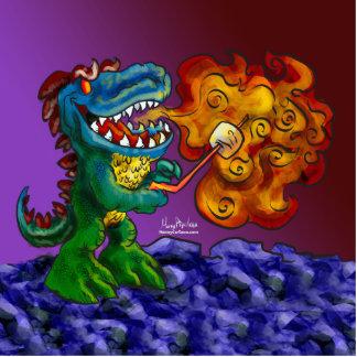 Dragón del dinosaurio que cocina las melcochas con escultura fotográfica