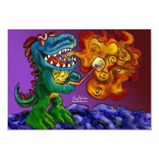 """Dragón del dinosaurio que cocina las melcochas con invitación 3.5"""" x 5"""""""