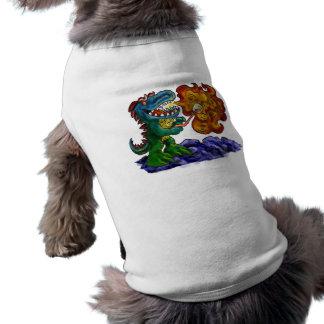 Dragón del dinosaurio que cocina las melcochas con camisetas de perro